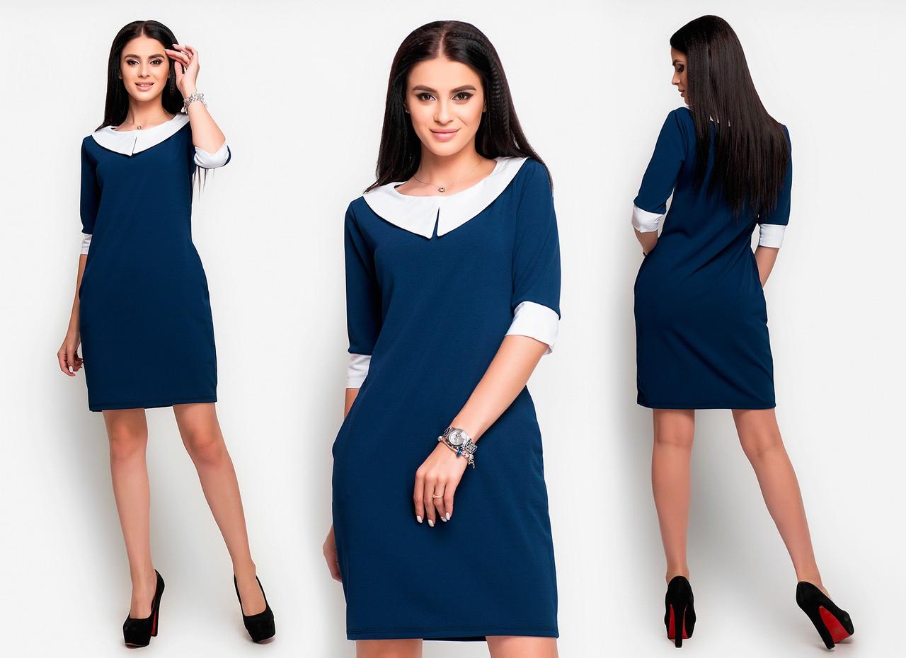 Приталенное  платье белый воротник и манжеты с карманами  / 3 цвета   арт 6522-2