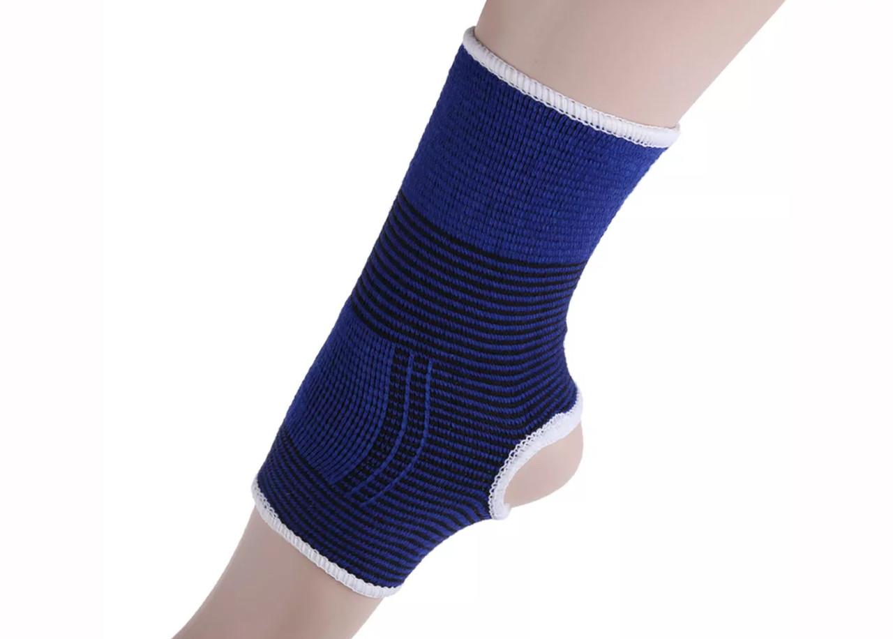 Компрессионная восстановительная повязка на голеностоп «Sport Heavy» бело-синяя с хорошим сжатием (1 шт)