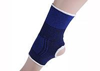 Компрессионная восстановительная повязка на голеностоп «Sport Heavy» бело-синяя с хорошим сжатием (1 шт), фото 1