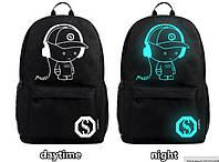Рюкзак для школьника,черный с светящейся картинкой,не промокаемый.
