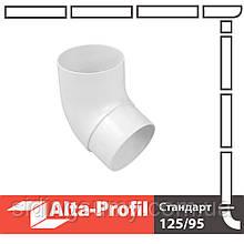 Коліно труби Альта-Профіль Стандарт 67 градусів 74 мм білий