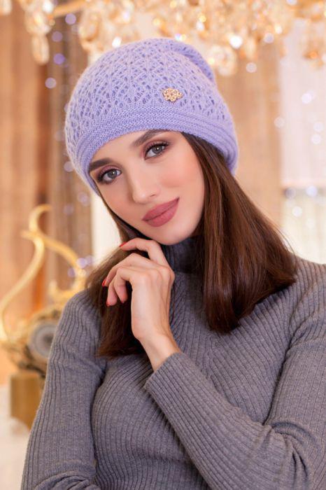 Зимняя женская Шапка «Верона» Светло-сиреневый