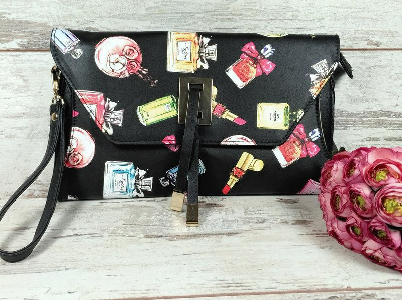 Женская сумка клатч конверт черный помадки Черный