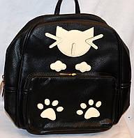 Женский черный рюкзак Кошка из искусственной кожи 26*33 см (черный)