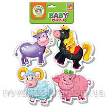 Мягкие Пазлы Пазл Ферма Vladi Toys 16 эл. набор из 4-х пазлов, VT1106-51, 009186