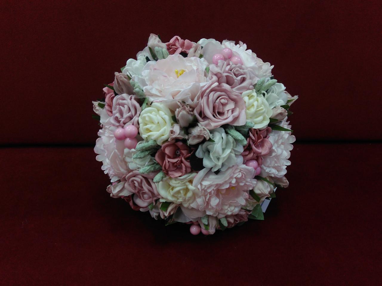 Свадебный букет-дублер из пионов розовый с айвори