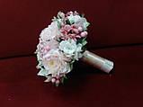 Свадебный букет-дублер из пионов розовый с айвори, фото 2