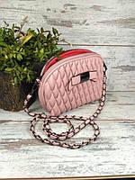 Сумка женская клатч на цепочке с бантиком Розовый Уценка, фото 1