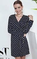 6c800724726 Модное платье осеннее мини полуприталенное рукав длинный на запах синее в  горох