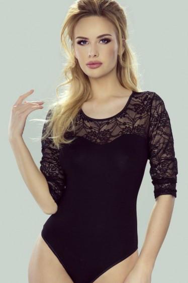 b80db9bb279 Купить Боди черного цвета с гипюром. Модель Brenda Eldar