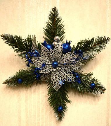 Звезда рождественская серебро с синим 0500 SB, фото 2