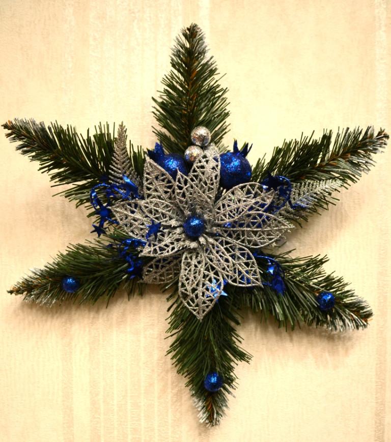 Звезда рождественская серебро с синим 0500 SB