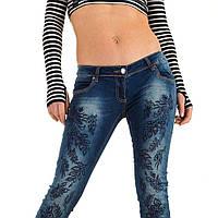 Женские джинсы-скинни с перфорацией и стразами Mozzaar (Европа) Синий b5898662de4d1