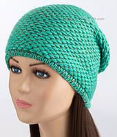 Удлиненная вязаная шапочка с люрексом Венера бирюза