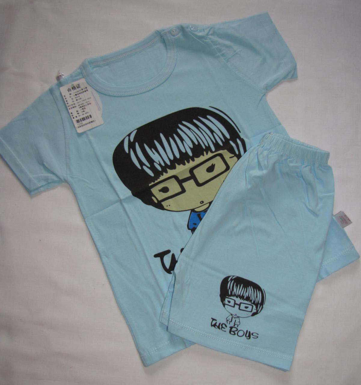 Пижама футболка с короткими рукавами и шорты Linkcard Умничка рост 110 см голубая 06121