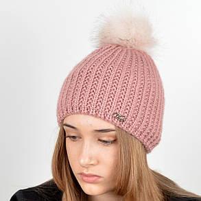 """Вязаная женская шапка """"Kelly"""" с меховым помпоном, фото 2"""