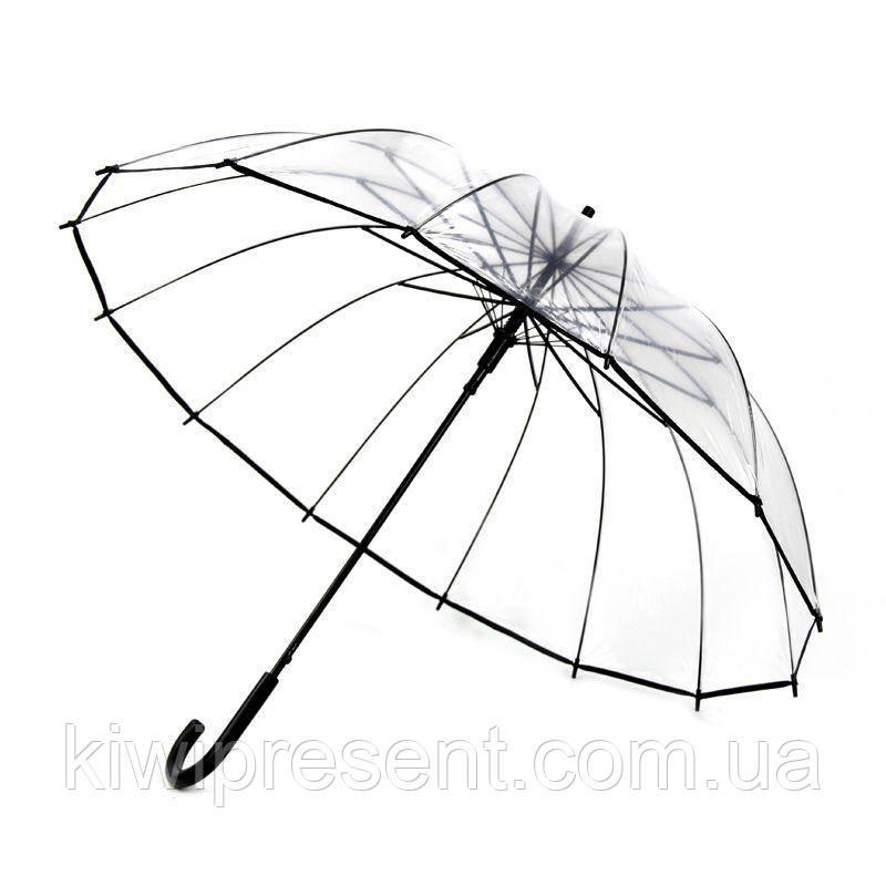 Зонт трость прозрачный с черным ободком без принта (14 спиц)