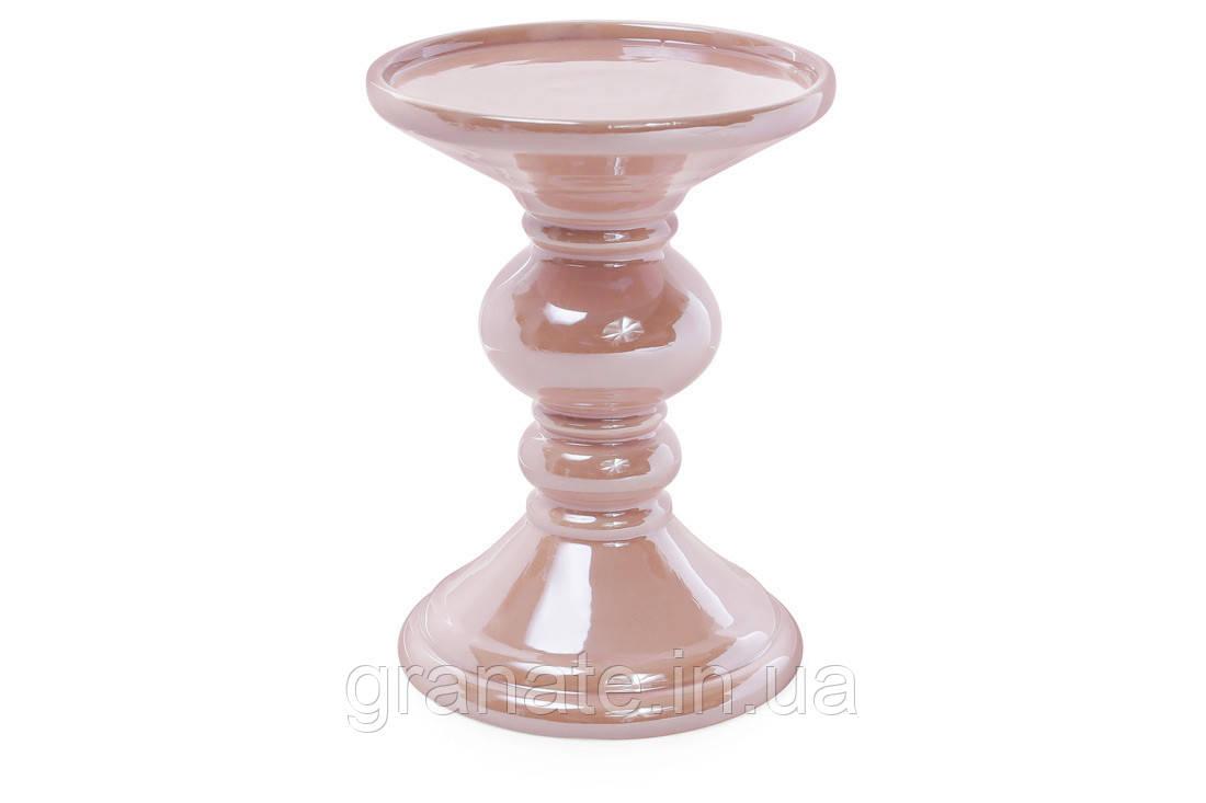 Набор подсвечников керамика, цвет - розовый 15см (2шт)