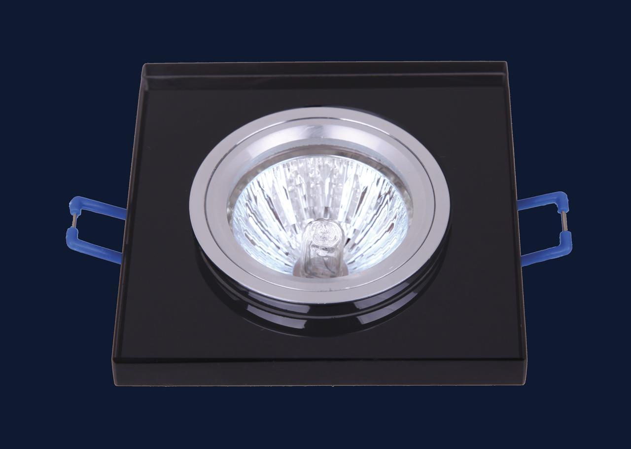 Стеклянный черный врезной светильник 705108