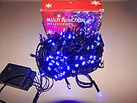 Гирлянда светодиодная LED синяя, черный провод, 100 лампочек, фото 1