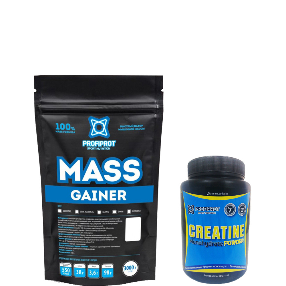 MASS GAINER  PROFIPROT 3 кг + Creatine Monohydrate Powder PROFIPROT 300 g