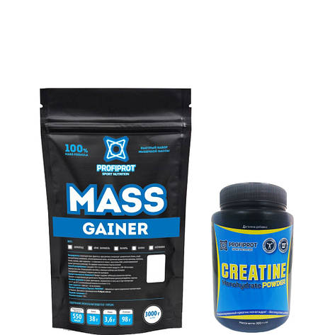 MASS GAINER  PROFIPROT 3 кг + Creatine Monohydrate Powder PROFIPROT 300 g, фото 2