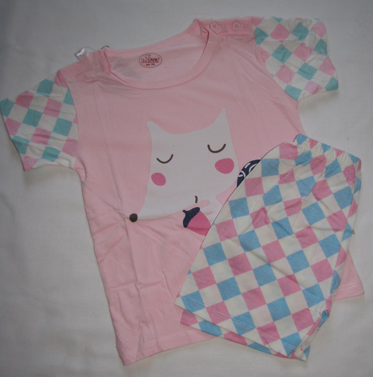 Пижама футболка с длинными рукавами и шорты Linkcard Лисичка рост 110 см розовая 06122