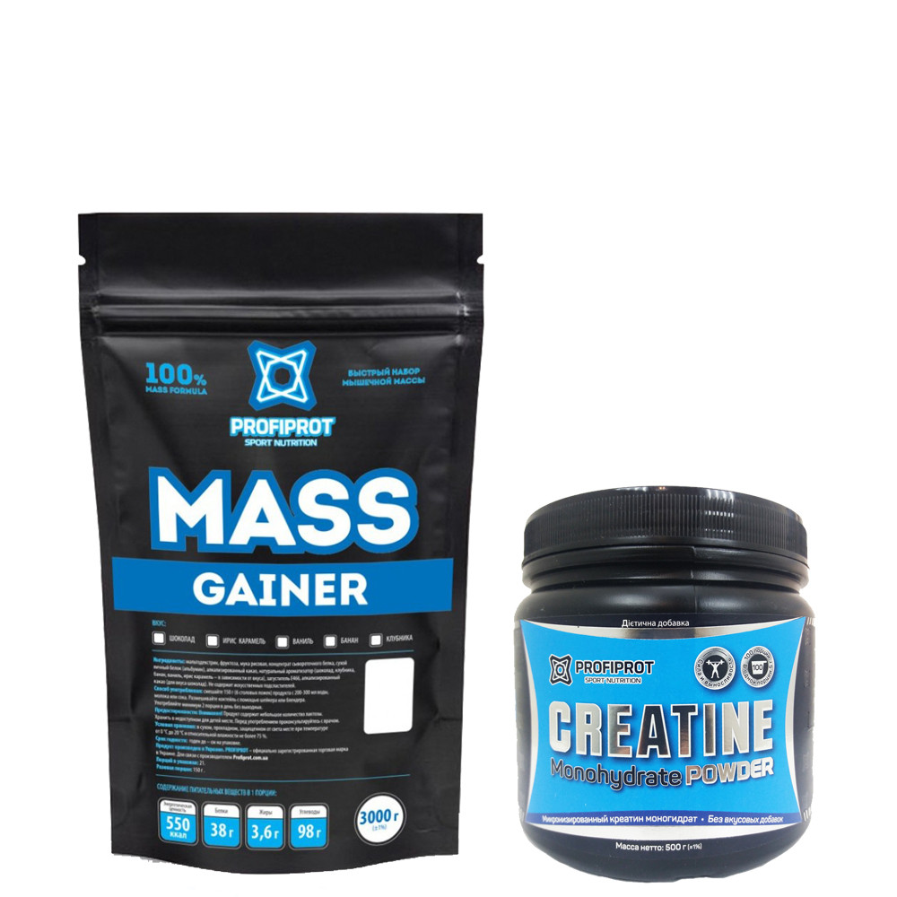 MASS GAINER  PROFIPROT 3 кг + Creatine Monohydrate Powder PROFIPROT 500 g