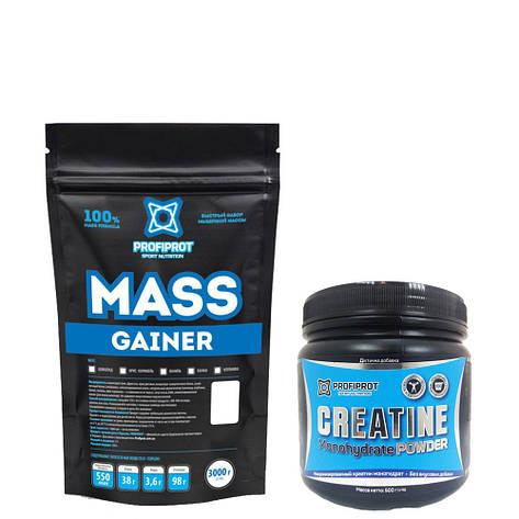 MASS GAINER  PROFIPROT 3 кг + Creatine Monohydrate Powder PROFIPROT 500 g, фото 2