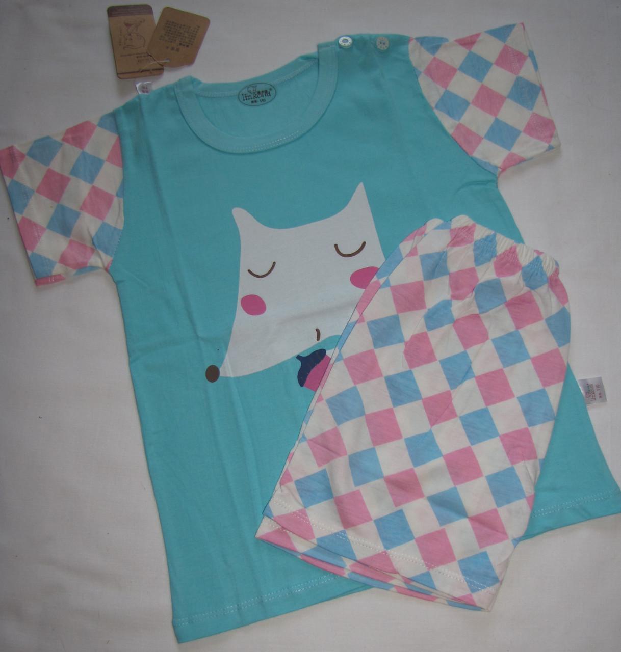 Пижама для девочки  (футболка с короткими рукавами и шорты) Linkcard Лисичка 110 см Голубая (06124)