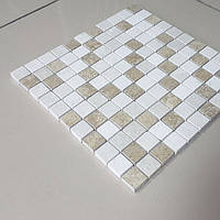 Декоративная мозаика Old Taun из травертина полированная, лист 1х30,5х30,5