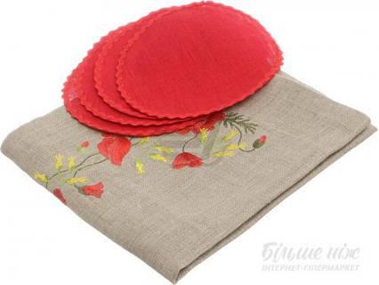 Набор Серпанок-Маки 4 салфетки d-17,5 см и ранер красный