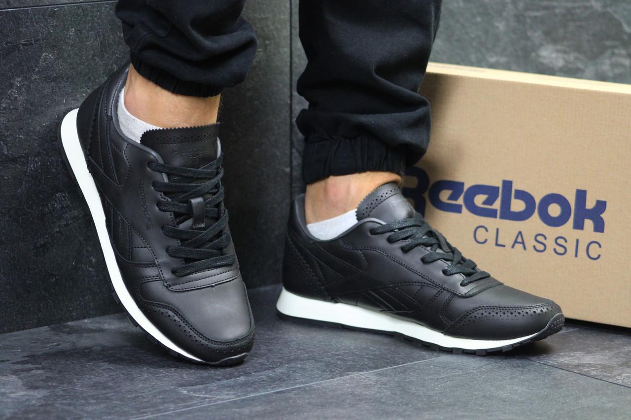 bef24fc97291 Купить Мужские кроссовки Reebok реплика кожаные черно белые ...