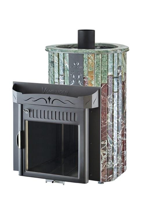 Дровяная печь для бани Ферингер Ламель Мини Жадеит + Россо Леванте Обрамление Камень (открытая каменка)