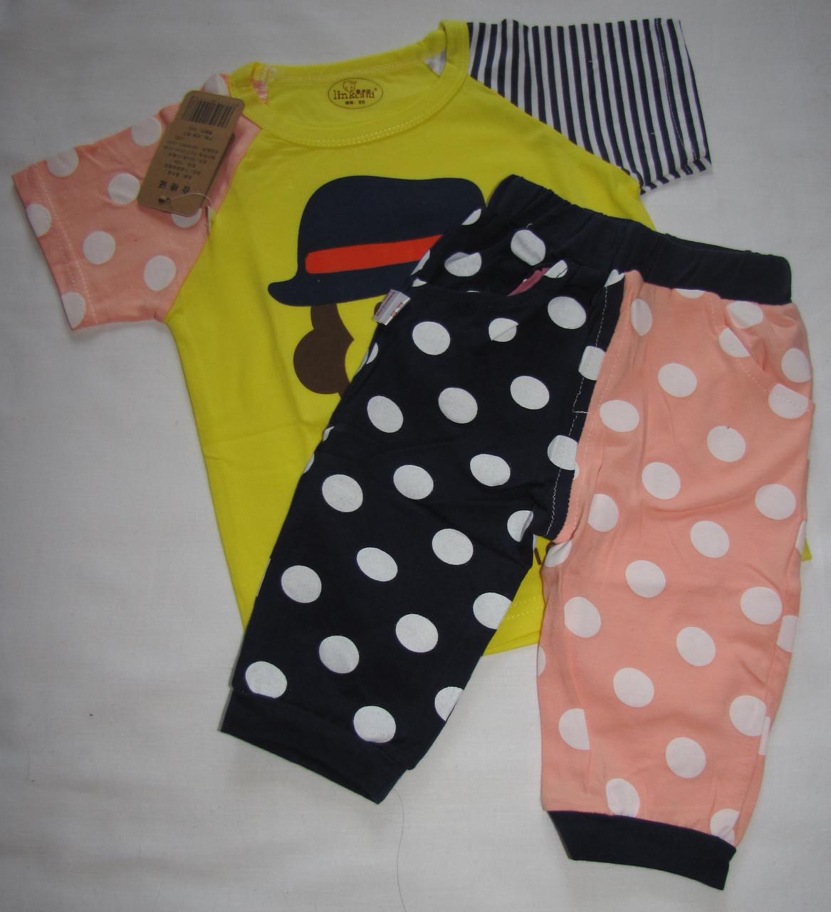 Пижама (футболка с короткими рукавами и шорты) Linkcard Обезьянка 90 см Желтая с розовым (06132)