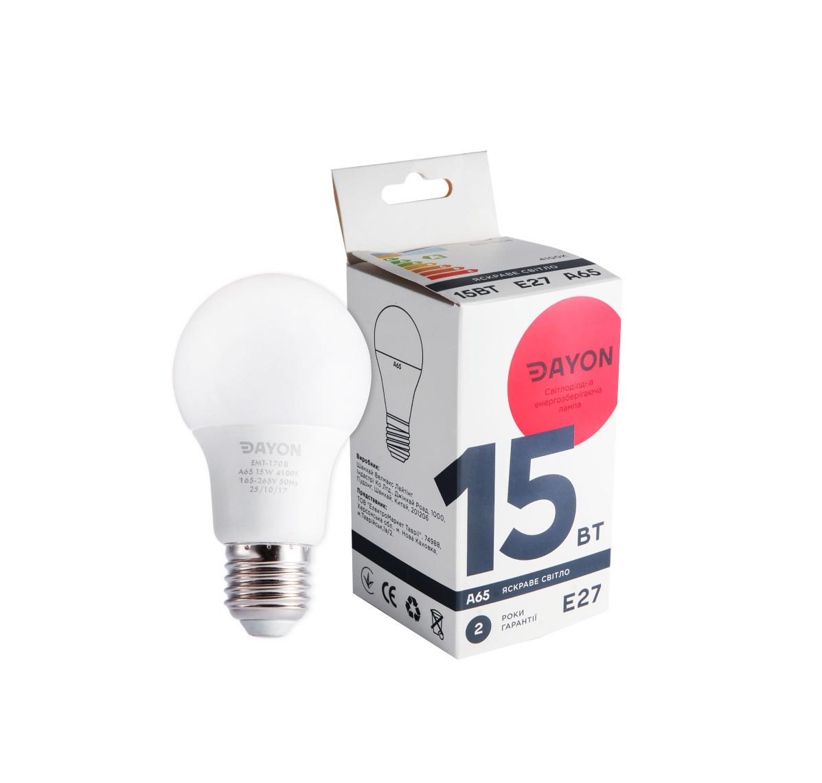 Светодиодная лампа DAYON EMT-1708 A65 15W 4100K E27