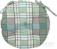 Подушка на стул Шато d40 см клетка зеленая La Nuit