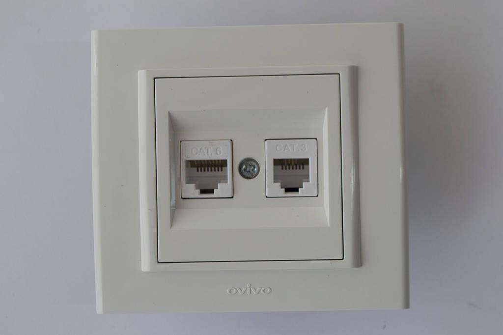 Розетка компьютер+телефон (разъем RJ45 CAT 6+RJ 11) Mina