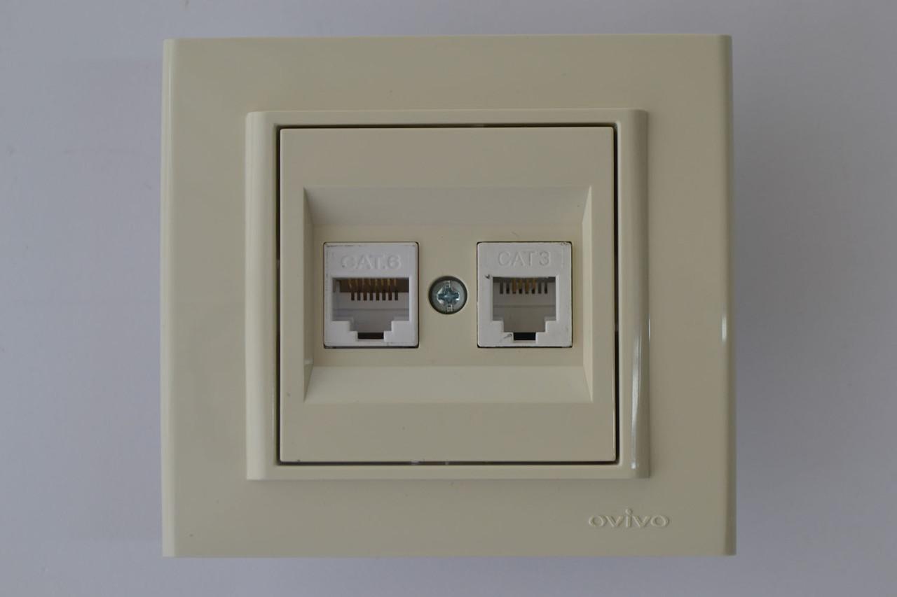 Розетка компьютер+телефон (разъем RJ45 CAT 6+RJ 11) Mina крем