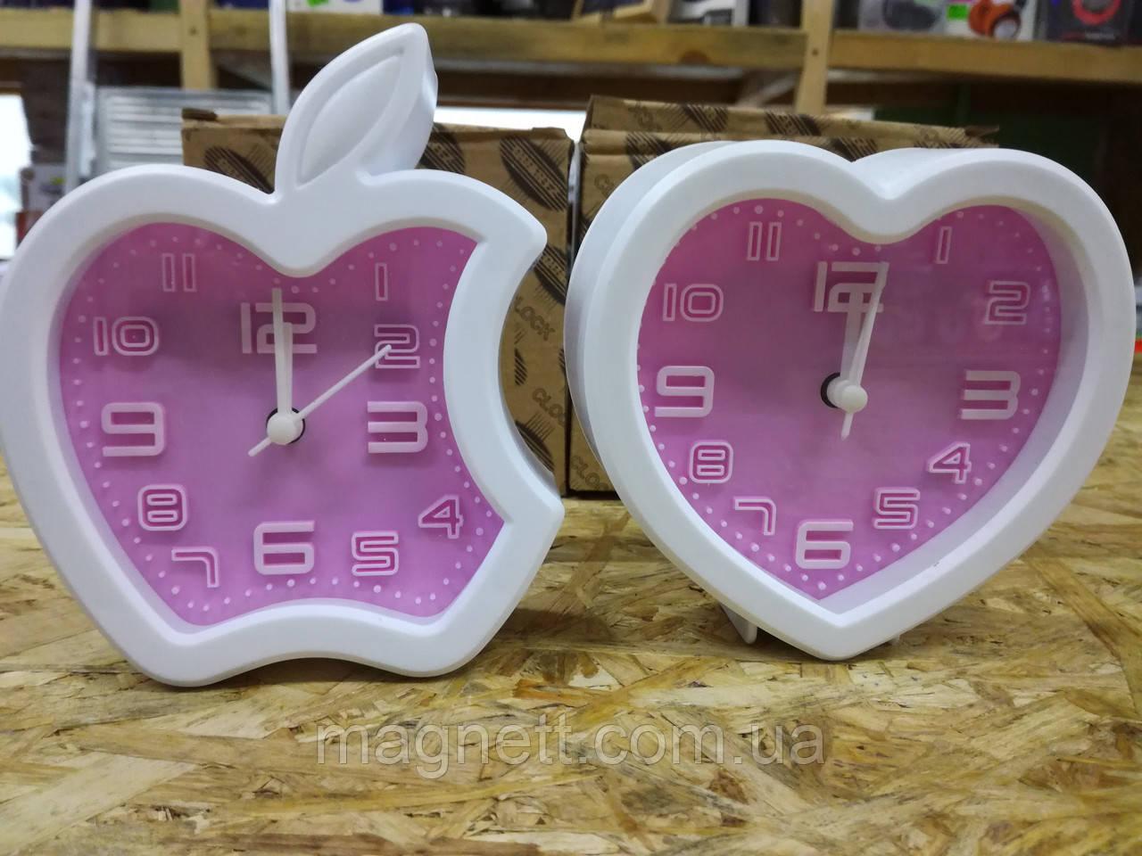 Часы настольные пластиковые розовые