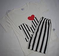 Пижама  футболка с короткими рукавами и шорты  Linkcard  Буква М рост 100 см белая+черная 06142, фото 1