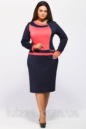 8297ac069998 Трикотажное женское платье Ирена синий-коралл  продажа, цена в ...
