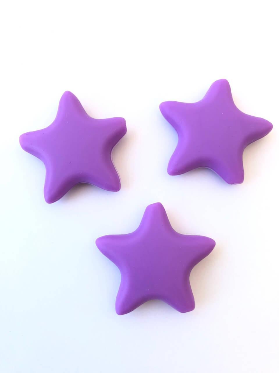 Звезда  острокон. (сирень), бусины из пищевого силикона