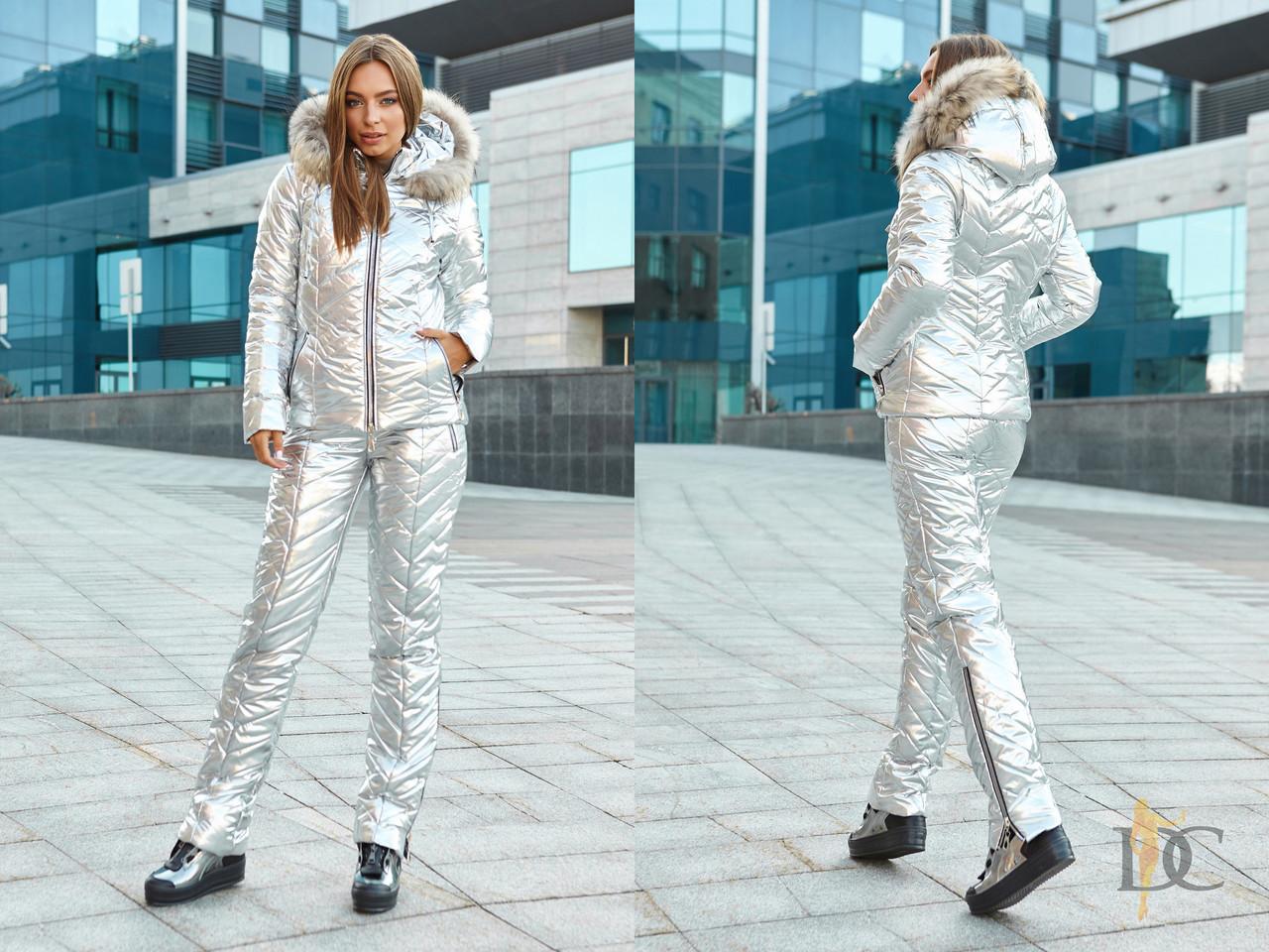 Женский зимний лыжный костюм Металлик в расцветках с капюшоном tez310823