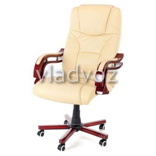 Кресло компьютерное офисное на прорезиненных колесиках Calviano Prezydent бежевый