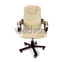 Кресло компьютерное офисное на прорезиненных колесиках Calviano Prezydent бежевый, фото 2