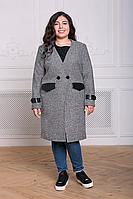 Пальто без коміра великого розміру, фото 1