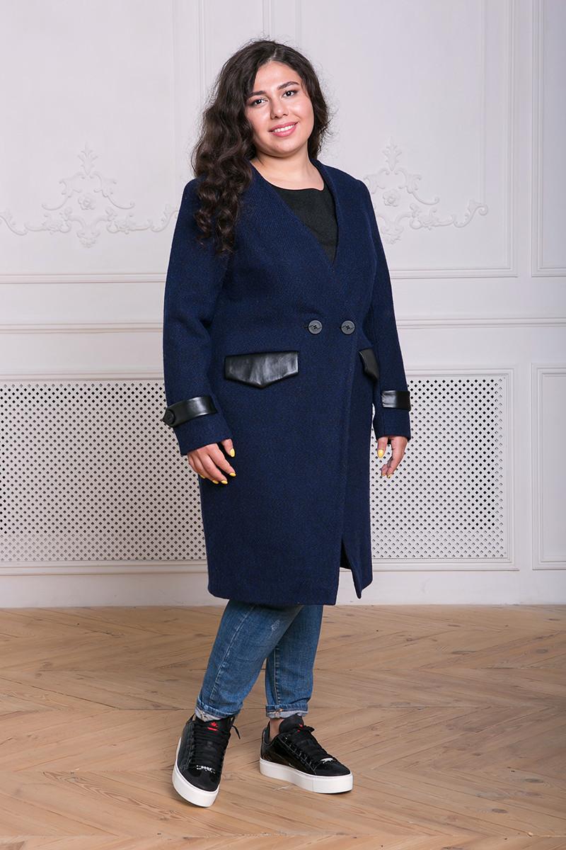 da36578a919 Демисезонное синее пальто больших размеров Грейс (54-60) - DS Moda - женская