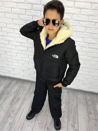 """Теплый подростковый дутый костюм на овчине """"The North Face"""" с капюшоном, фото 2"""