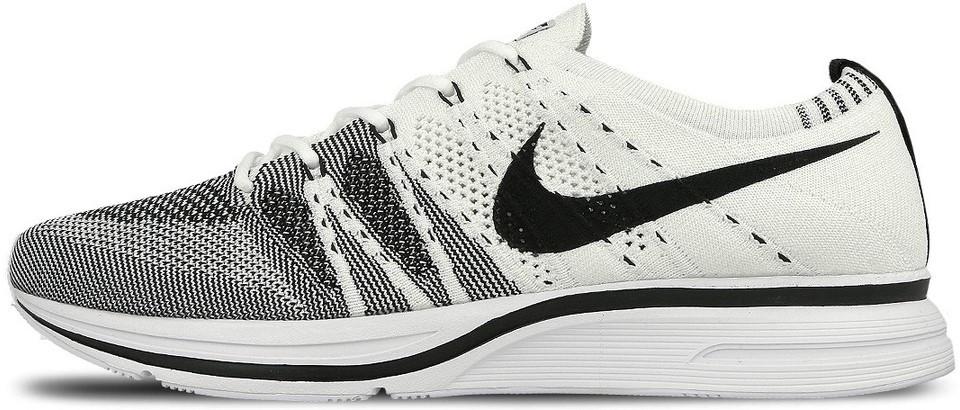 """Мужские кроссовки Nike Flyknit Trainer """"White/Black"""" (Найк Флайнит) белые"""